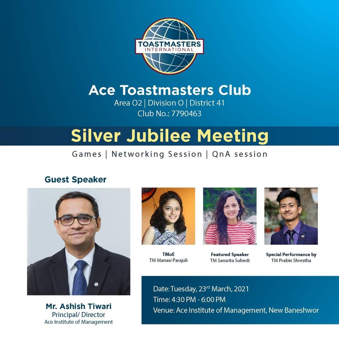 Successful completion of Silver Jubilee Meeting Ace Toastmasters Club